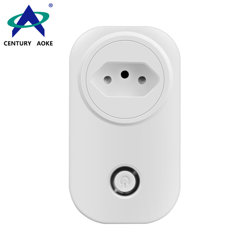 Brazilian Socket 110V~240V 10A APP Control (Android&IOS) WIFI 2.4GHz Amazon Echo Google Home IFTTT Residential Smart Power Socket AK-P51W-03F