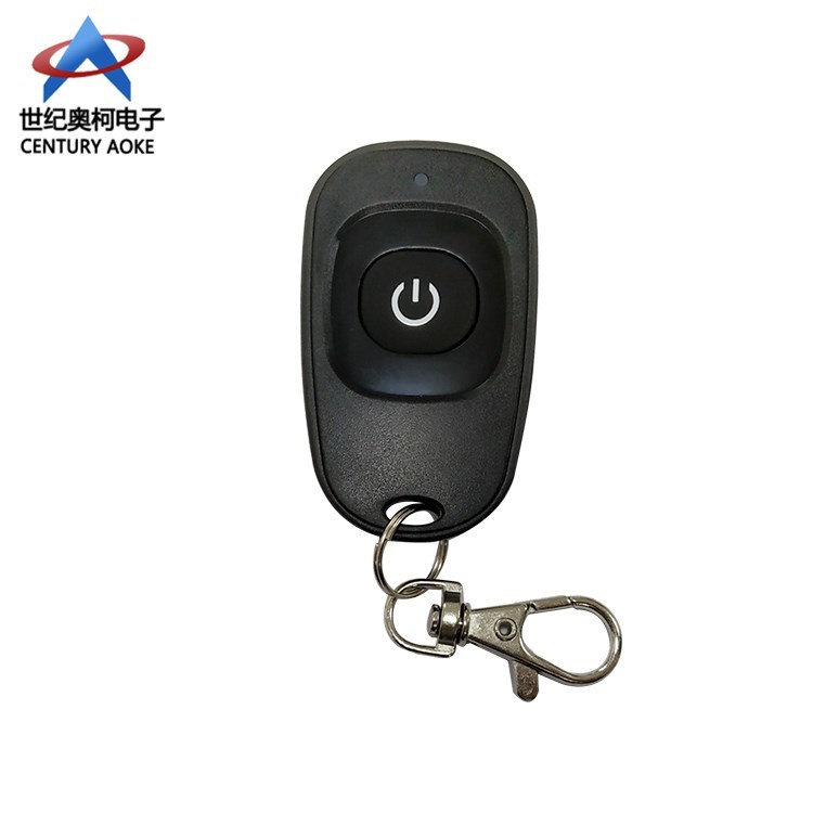 RF 433/315Mhz one button plastic black duck egg shape rolling code fixed code remote control with keychain