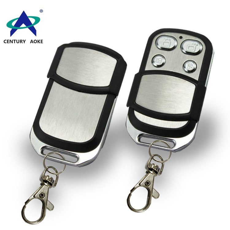 315Mhz/433.92Mhz 4-buttons wireless remote control AK-J046 with metal push cover and keychain