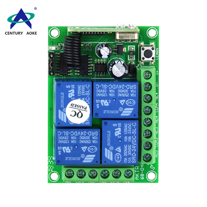 Cross-type learning code DC 12V 4 channel remote control switch AKTR68-04B