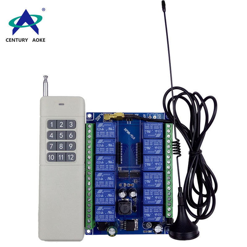 Wide voltage 12V-48V 12 channel remote control switch +  wireless remote control